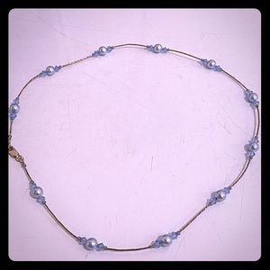 Delicate blue handmade choker necklace!
